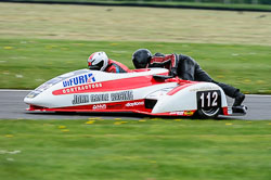 Barry James & Sam Christie, EMRA Sidecars, Cadwell Park, May 2013