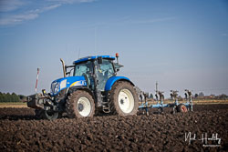 New Holland T6 at Newborough Plouging Match, Newborough, Cambridgeshire, February 2019. Photo: Neil Houltby