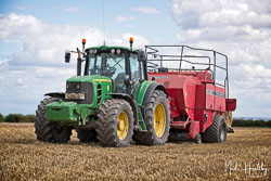 John Deere 6940 and Massey Ferguson Baler at Gathering the Harvest, East Bridgeford, Nottinghamshire, August 2019. Photo: Neil Houltby