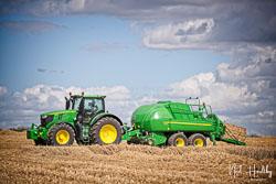 John Deere 6250R and John Deere L1534 Baler at Gathering the Harvest, East Bridgeford, Nottinghamshire, August 2019. Photo: Neil Houltby