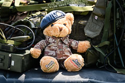 RAF Regiment Gunner Teddy at Lanc and Tank, Lincolnshire Aviation Heritage Centre, East Kirkby, Lincolnshire, May 2018. Photo: Neil Houltby