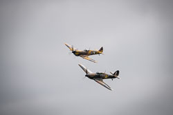 Supermarine Spitfire Mk IX and Hawker Hurricane at Props and Pistons, Lincolnshire Aviation Heritage Centre, East Kirkby, Lincolnshire, August 2018. Photo: Neil Houltby