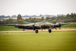 Boeing B-17 Flying Fortress 'Sally B' at Battle of Britain, Duxford Air Show, Imperial War Museum Duxford, Cambridgeshire, September 2018. Photo: Neil Houltby