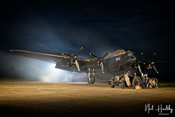 Avro Lancaster 'Just Jane' at Night Shoot, Lincolnshire Aviation Heritage Centre, East Kirkby, Lincolnshire, September 2019. Photo: Neil Houltby