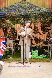 George Formby Impersonator at WWII Reenactment, Ramsey 1940's Weekend, Ramsey, Cambridgeshire, August 2018. Photo: Neil Houltby