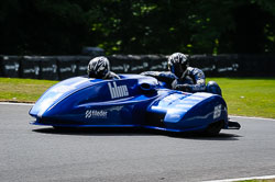Matt Maclaurin and Adrian Hope at International Sidecar Revival, Cadwell Park, Lincolnshire, June 2018. Photo: Neil Houltby