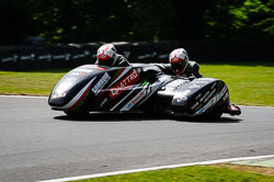 Ricky Stevens and Ryan Charwood at International Sidecar Revival, Cadwell Park, Lincolnshire, June 2018. Photo: Neil Houltby