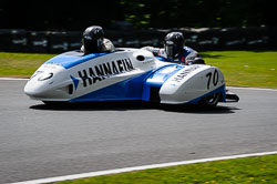 Rupert Archer and Tom Bryant at International Sidecar Revival, Cadwell Park, Lincolnshire, June 2018. Photo: Neil Houltby