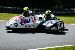 Kevin Cable and Guy Pawsey at International Sidecar Revival, Cadwell Park, Lincolnshire, June 2018. Photo: Neil Houltby