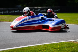 Nev Jones and Robin Child at International Sidecar Revival, Cadwell Park, Lincolnshire, June 2018. Photo: Neil Houltby