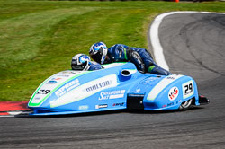 Steve Kershaw and Stuart Clark at International Sidecar Revival, Cadwell Park, Lincolnshire, June 2018. Photo: Neil Houltby