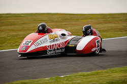 Gary Horspole and James Connell at International Sidecar Revival, Cadwell Park, Lincolnshire, June 2018. Photo: Neil Houltby