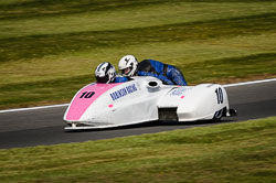 Rod Robinson and Kirsty Hauxwell at International Sidecar Revival, Cadwell Park, Lincolnshire, June 2018. Photo: Neil Houltby