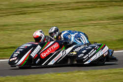 Ricky Stevens and Justin Sharpe at International Sidecar Revival, Cadwell Park, Lincolnshire, June 2018. Photo: Neil Houltby