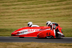 Simon Gilbert and Jack Tritton at International Sidecar Revival, Cadwell Park, Lincolnshire, June 2018. Photo: Neil Houltby