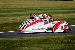 Dean Nichols and Kenny Cole at International Sidecar Revival, Cadwell Park, Lincolnshire, June 2018. Photo: Neil Houltby