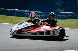 Merv Noble and Alfie Edwards at International Sidecar Revival, Cadwell Park, Lincolnshire, June 2018. Photo: Neil Houltby