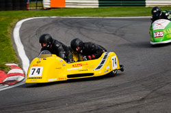 Stuart Mellor and Tom Mellor at International Sidecar Revival, Cadwell Park, Lincolnshire, June 2018. Photo: Neil Houltby