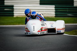 Steve Webster and  at International Sidecar Revival, Cadwell Park, Lincolnshire, June 2018. Photo: Neil Houltby